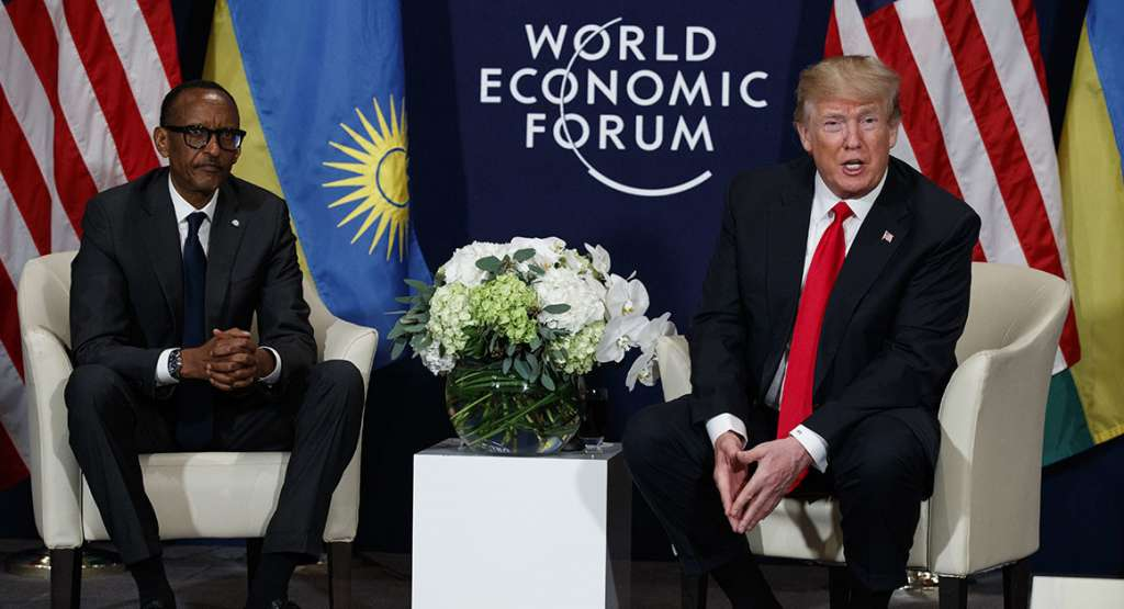 President Donald Trump meets with Rwandan President Paul  Kagame on the sidelines of the World Economic Forum | AP Photo