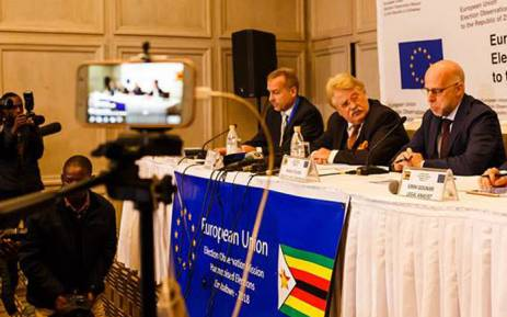 European Union Election Observation Mission Chief Observer Elmar Brok (centre) briefing journalists in Harare. Picture: @eueomzimbabwe/Facebook.com.