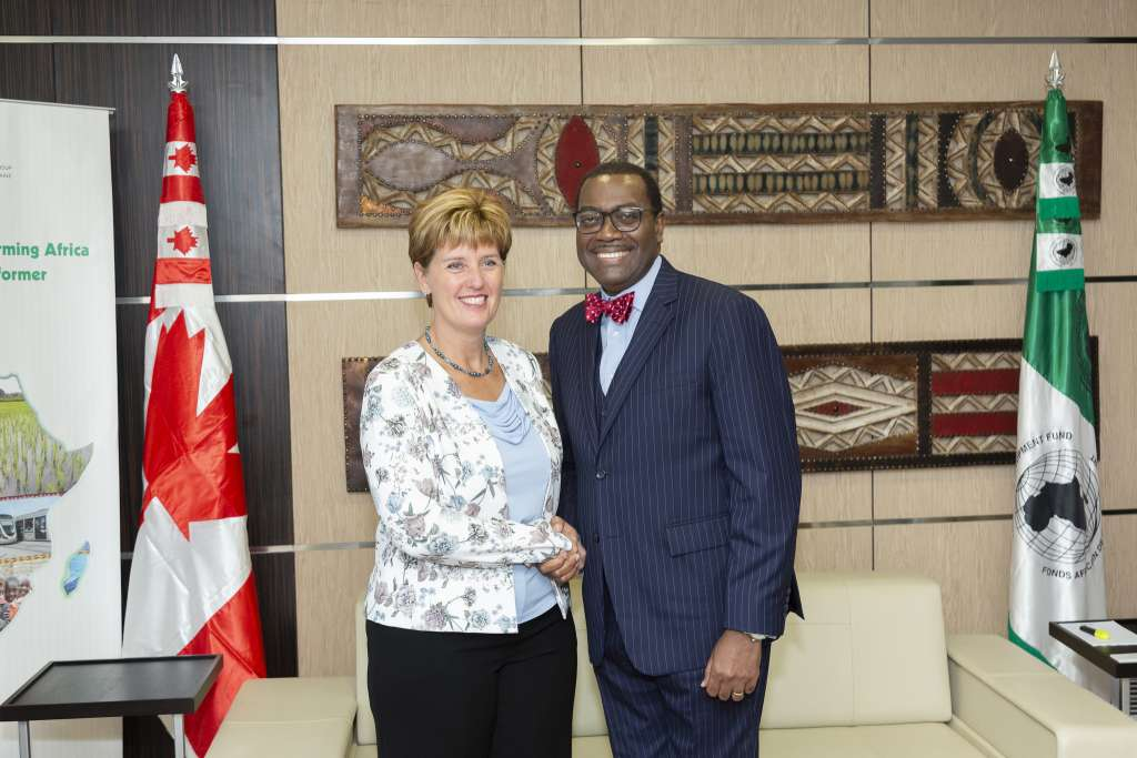 Canada's Minister of International Development, Marie-Claude Bibeau and the President of the African Development Bank Akinwumi Adesina