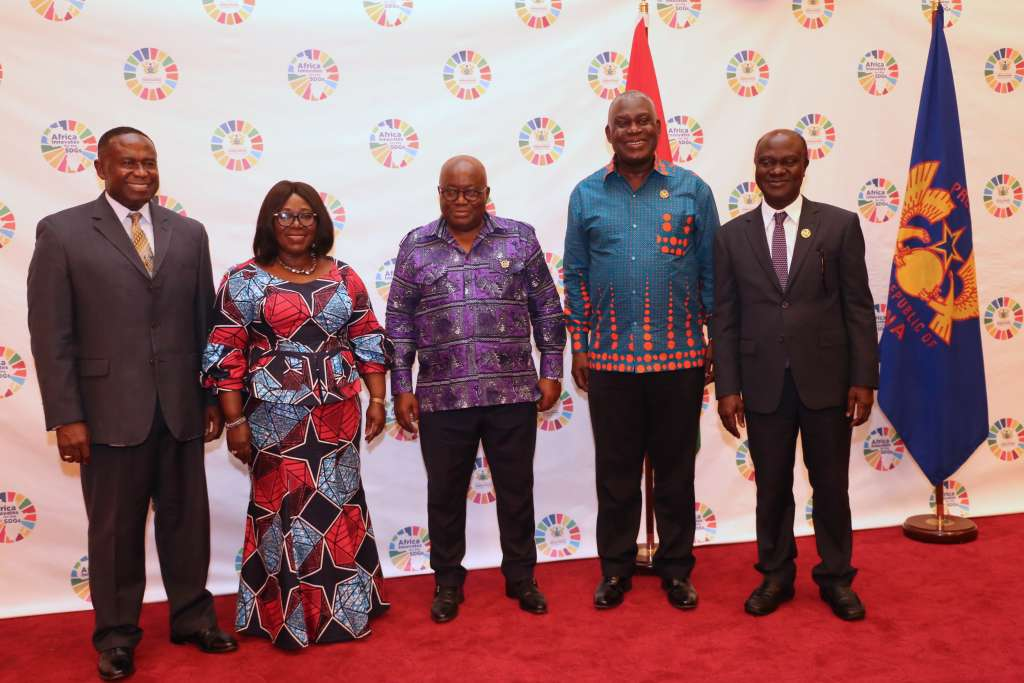 From left to right: Joe Mensah, CEO Kosmos Energy, Akosua Frema Osei-Opare,Chief of staff at the Presidency of Ghana,Nana Addo Dangkwa Akufo-Addo, President of Ghana, Eugene Owusu, Special Advisor to the President on the SDGs and Professor George Gyan-Baffour, Minister for Planning, Ghana gather at the launch of Africa Innovates for the SDGs
