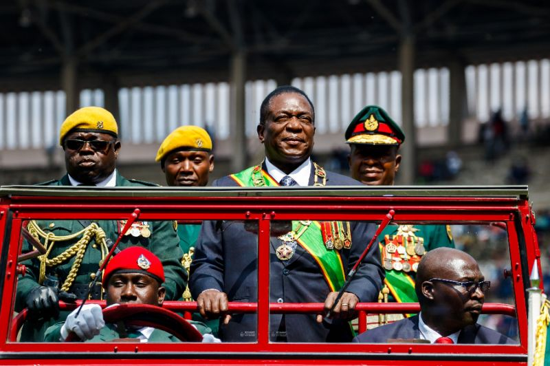 Emmerson Mnangagwa's victory in the July 30 Zimbabwe polls was challenged by the main opposition (AFP Photo/Jekesai NJIKIZANA)