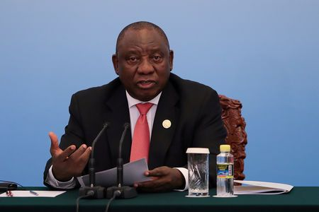FILE PHOTO: South African President Cyril Ramaphosa speaks during the during 2018 Beijing Summit Of The Forum On China-Africa Cooperation - Joint Press Conference at the Great Hall of the People at The Great Hall Of The People on September 4, 2018 in Beijing, China. Lintao Zhang/POOL Via REUTERS/File Photo