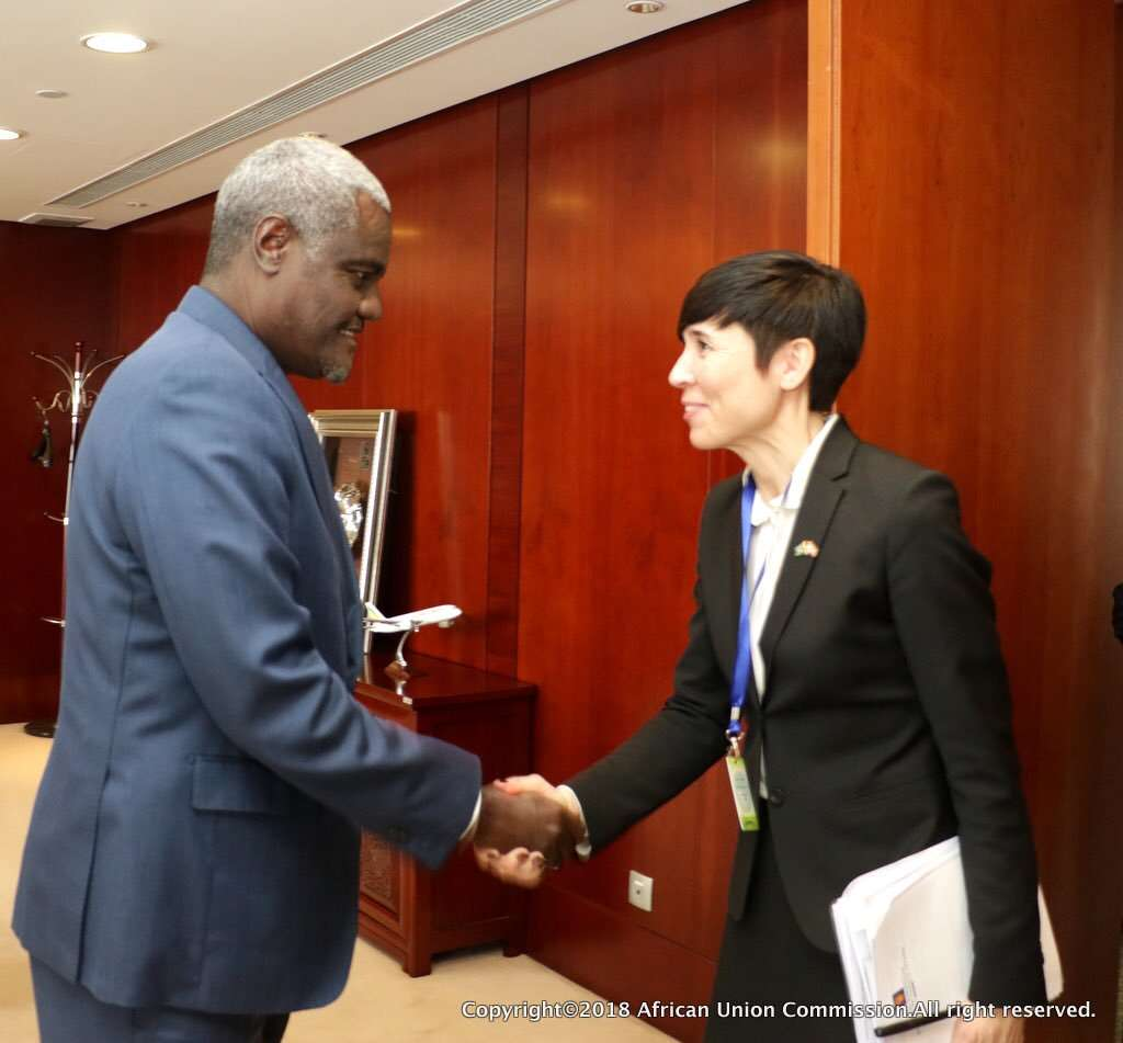 AU Chair MoussaFaki and Norway FM Ine Eriksen Søreide,in Addis Abeba-pic culled from twitter