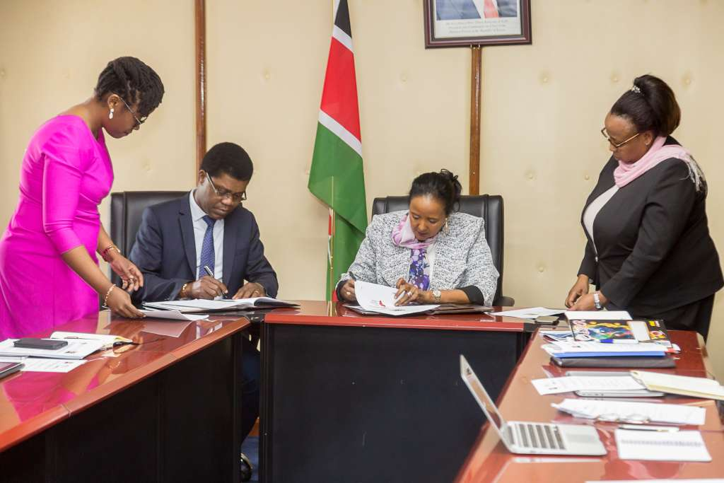Thierry Zomahoun, AIMS President/CEO and NEF Chair and Hon. Dr. Amina Mohamed, Kenya's Cabinet Secretary for Education