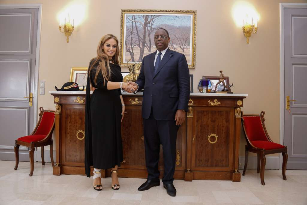 Dr. Rasha Kelej, CEO of Merck Foundation with His Excellency MACKY SALL, The President of Senegal