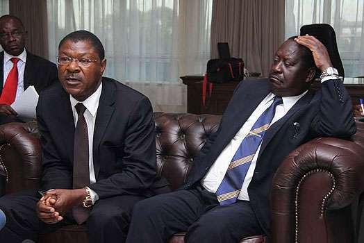 play Ford-Kenya Party leader Moses Wetangula (left) and NASA leader Raila Odinga (right) (Facebook)