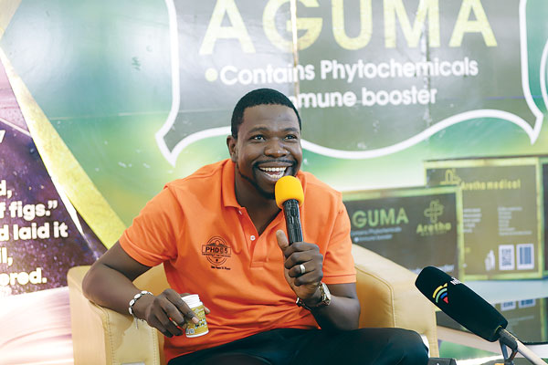 Prophetic healing and Deliverance (PHD) Ministries leader Walter Magaya speaks at the launch of Aguma which he claims it cures HIV and Aids at his headquarters in Waterfalls