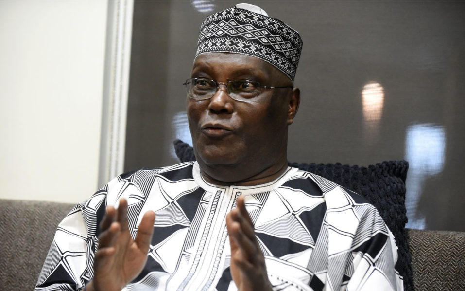 Former Vice President Atiku Abubakar during his campaign for the presidential mandate of the opposition People's Democratic Party to unseat the Incumbent President at next year's presidential elections in Lagos / AFP PHOTO / PIUS UTOMI EKPEI