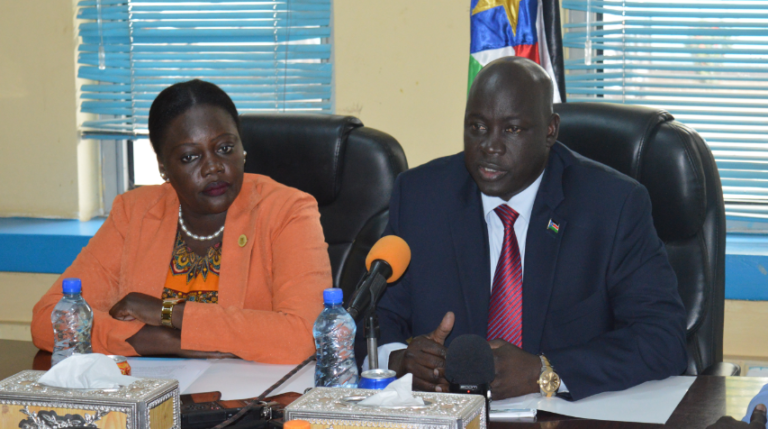 Minister of Interior Michael Chianjiek and Deputy Minister of Information Lily Albino briefing the media in Juba on 29th August 2018 (File photo)