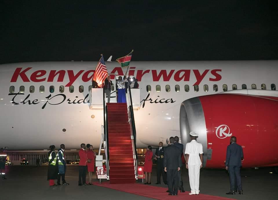President Uhuru Kenyatta flags off the inaugural Kenya Airways (KQ) direct flight from Nairobi to New York. PHOTO| PSCU
