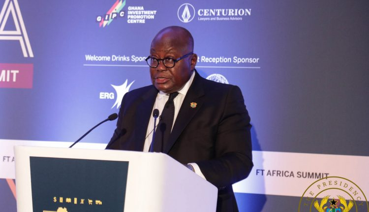 President Akufo Addo speaking at the FinancialTIme Africa Summit.