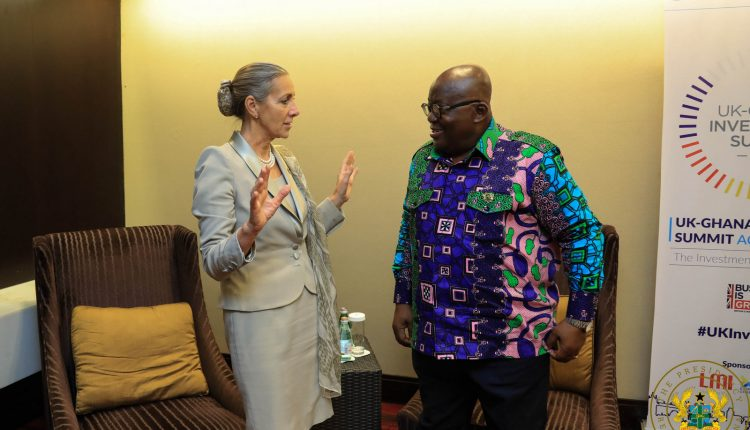 President Akufo Addo with the UK Minister of State for Africa Harriet-Baldwin