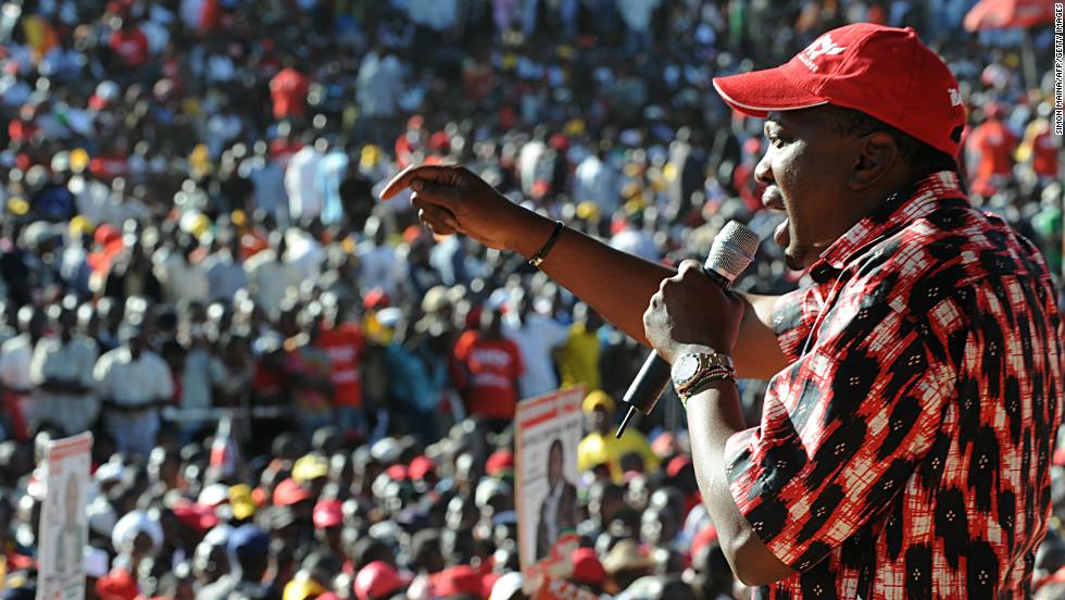 President Uhuru Kenya  speaks at a political rally