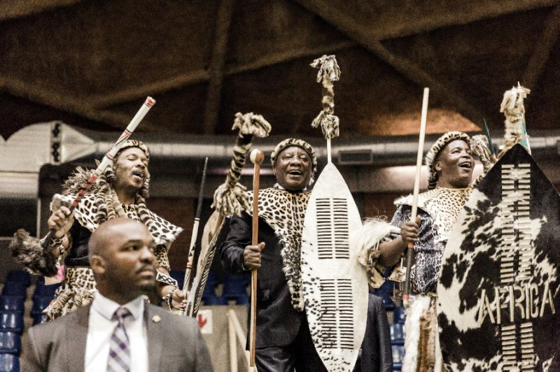 South African President Cyril Ramaphosa dances with members of the Mkwanazi clan after symbolically handing back land to the community (AFP Photo/Rajesh JANTILAL)