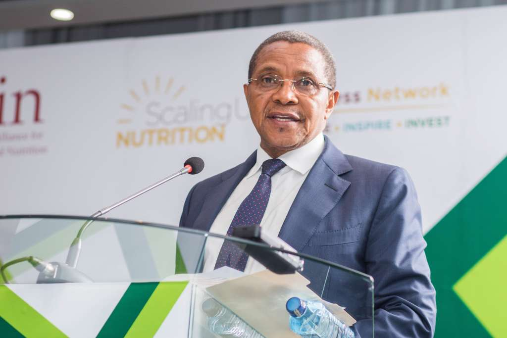Former President of the United Republic of Tanzania H. E. Jakaya Kikwete addressing delegates at the Nutrition Africa Investor Forum in Nairobi