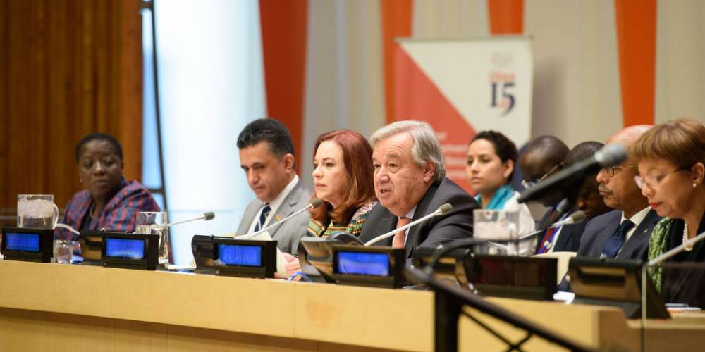 "UN Photo / Loey Felipe | Secretary General António Guterres (4th left) addresses high-level event on the ""Role of the AU-UN partnership in a globalized world"""