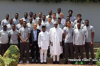Buhari meetiing with Super Eagles ahead of last world cup