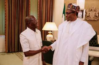 President Muhammadu Buhari on with Adams Oshiomhole, National Chairman of the All Progressives Congress (APC)