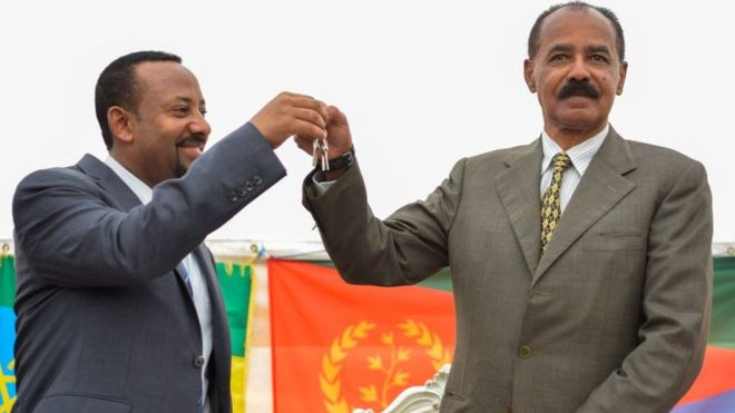 Ethiopia's Abiy Ahmed (left) and Eritrea's Isaias Afwerki (right) have ended travel restrictions between the two countries