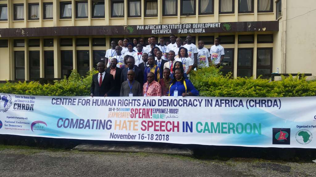 Facilitators and trainers pose for a picture during the workshop on combating hate speech in Cameroon