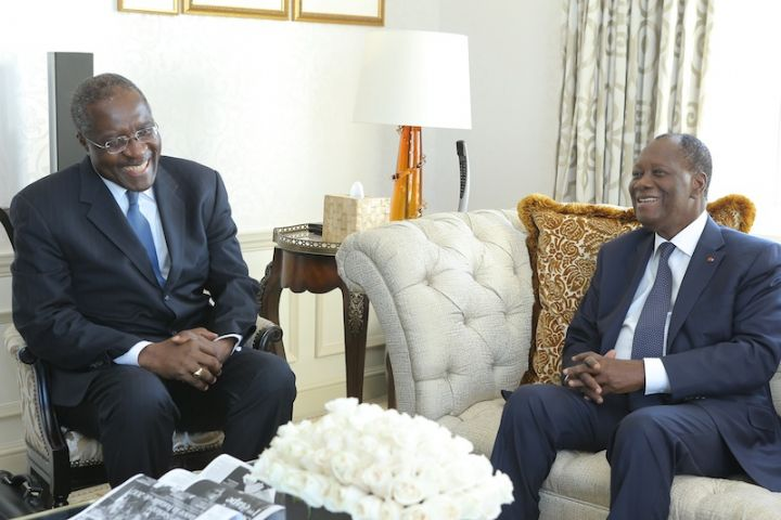 Fomunyoh, pictured here with Alassane Ouatrarra of Ivory Coast has a good track record of helping to facilitate dialogue and establishing democracies across Africa