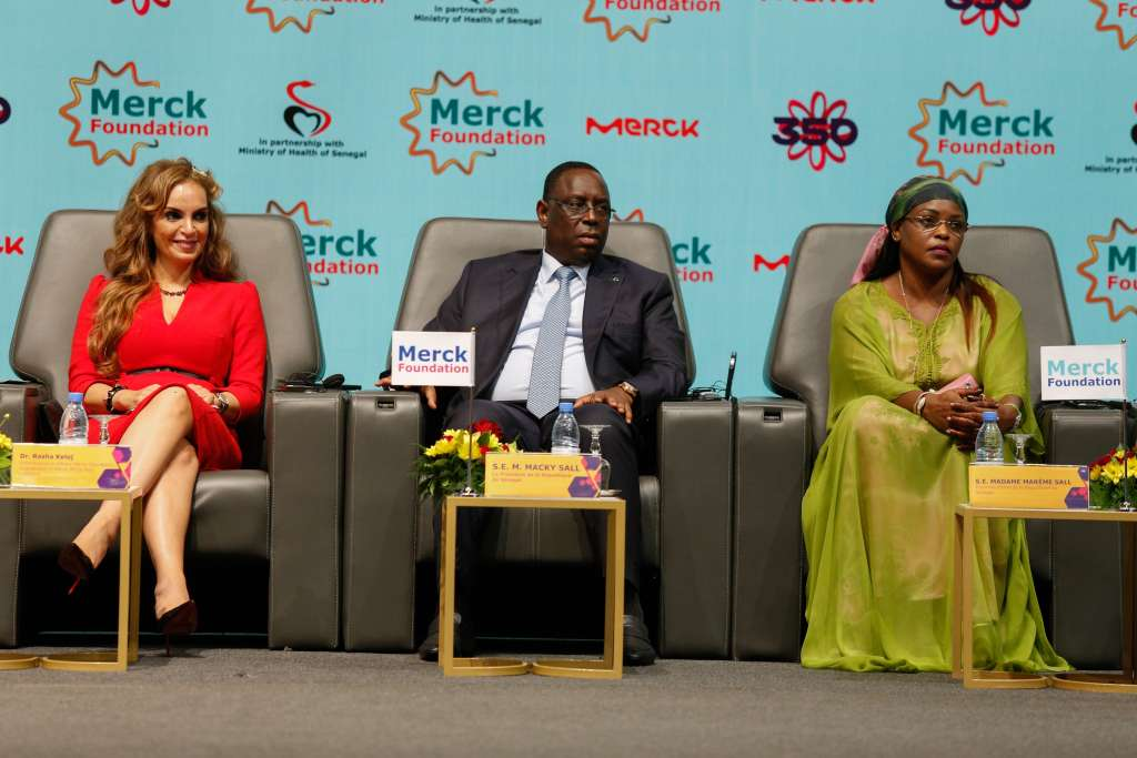 L-R): Dr. Rasha Kelej, CEO of Merck Foundation with H.E. MACKY SALL, The President of Senegal and H.E. MARIEME FAYE SALL, The First Lady of Senegal