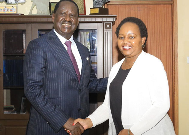 """Waiguru who had sued Odinga for linking her to the loss of Sh 791 million from the National Youth Service (NYS) during her tenure as Cabinet Secretary for Devolution said she had withdrawn the case in the spirit of """"cohesion and reconciliation.""""/CFM NEWS"""