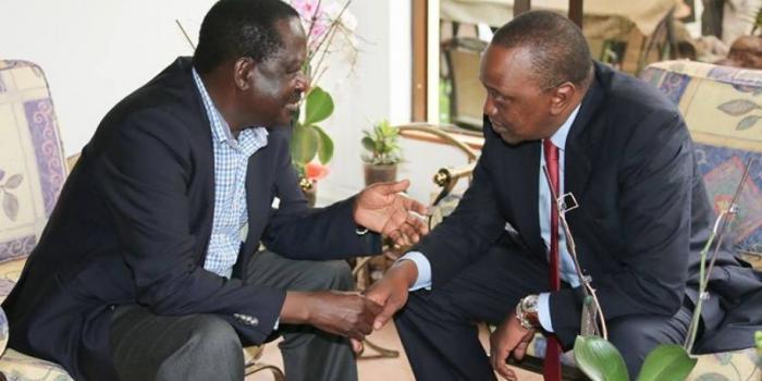 Uhuru Kenyatta with Raila Odinga