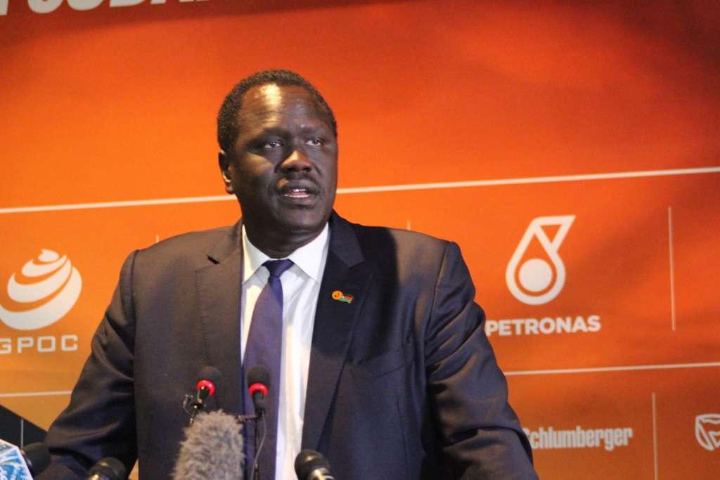 South Sudanese Petroleum Ezekiel Lul addresing the investors, Nov 20, 2018. photo by Deng Machol