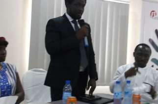 ACC Commissioner, Francis Ben Kaifala speaking during MIWGEM symposium at Cabenda Hotel