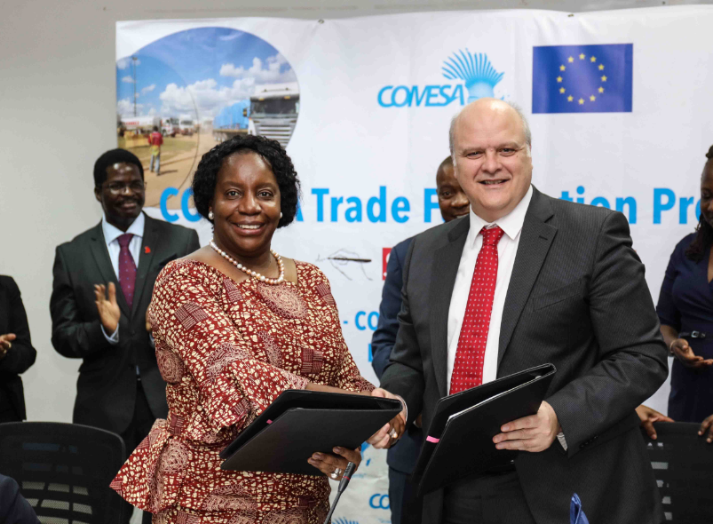 Secretary General of COMESA, Chileshe Mpundu Kapwepwe and the Head of the European Union Delegation to Zambia, Ambassador Alessandro Mariani