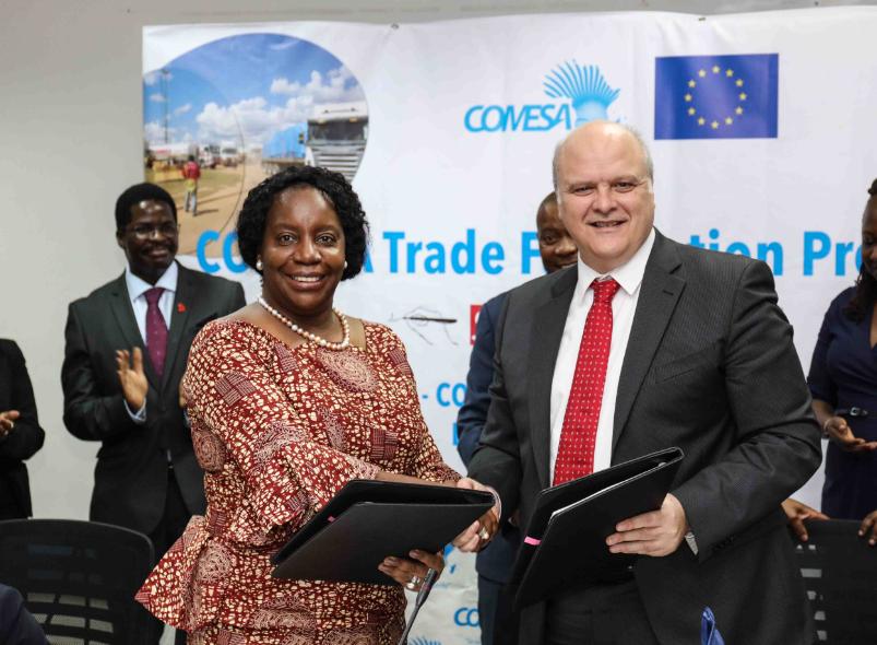 Secretary General of COMESA, Chileshe Mpundu Kapwepwe and the Head of the European Union Delegation to Zambia, Ambassador Alessandro Mariani