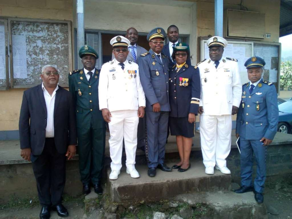 4th from Left- President Buea Military Tribunal and State prosecutor, 3rd from Right after the release of some detainees in Buea