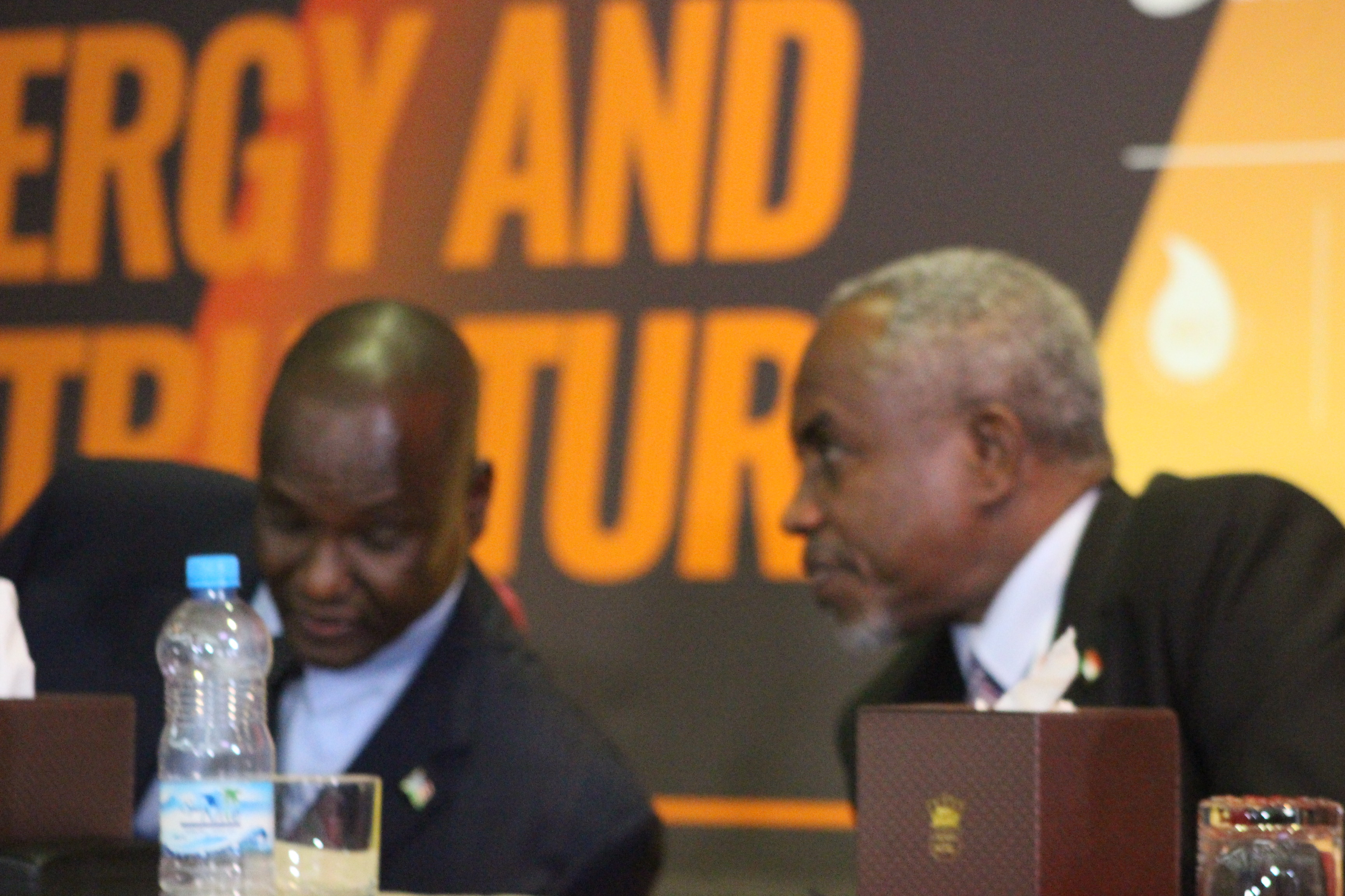Sudan Petroleum MinisterAzhari Abdallah, in whispher conversation with FVP Taban Deng during the Oil and Power Conference , Nov 20, 2018. Pan African Visions by Deng Machol