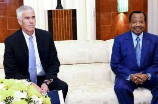 Peter Henry Barlerin -the U.S. Ambassador to the Republic of Cameroun and President Biya