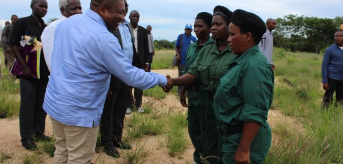 Filipe Nyusi shakes hands with Renamo fighters, accompanied by Afonso Dhlakama in Gorongosa, 19 February 2018. Photo: Office of the President