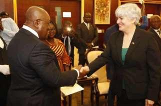 The new U.S. Ambassador to Ghana, Stephanie S. Sullivan, presented her credentials to President Nana Addo Dankwa Akufo-Addo