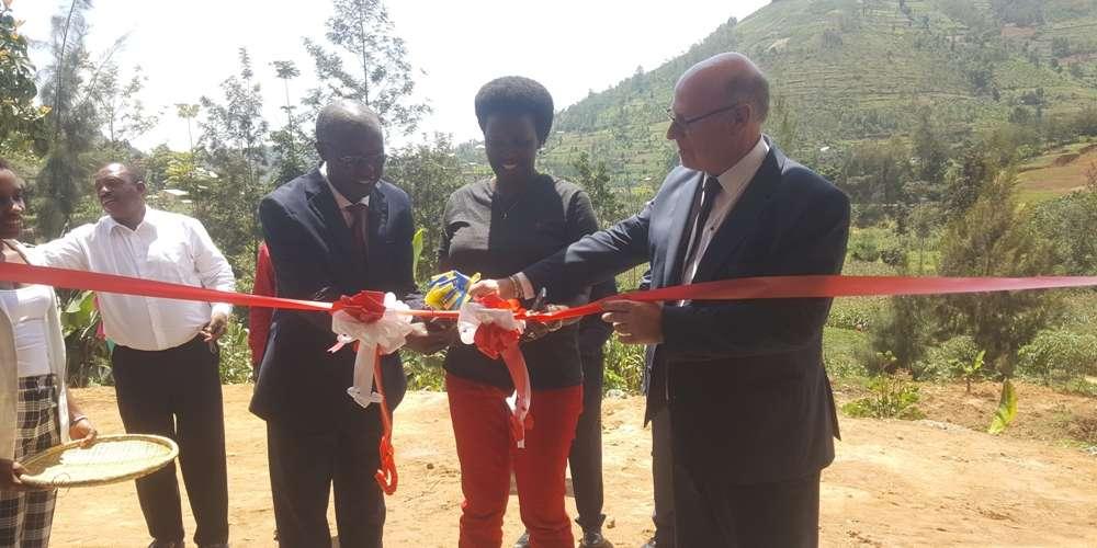 L_R_ OPEDUC President Nkeshimana, Vice mayor Gasanganwa and Dr. Lambert unveil the training centre in Rulindo on Monday (Photo by Mugabo)