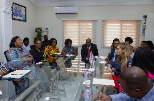 First Lady of Ghana, H.E. Rebecca Akufo-Addo; CEO of Merck Foundation, Dr. Rasha Kelej meets emergent fashion designers to deliver breaking infertility stigma messages in their designs