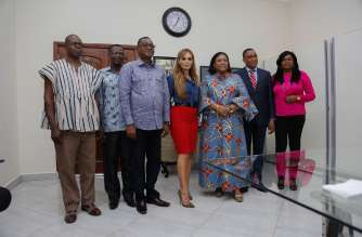 First Lady of Ghana, H.E. Rebecca Akufo-Addo; CEO of Merck Foundation and President Merck More Than a Mother, Dr. Rasha Kelej meet National TV & Film Institution to launch Film Awards to deliver messages to break infertility stigma