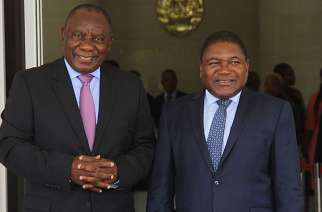 South Africa's Cyril Ramaphosa and Mozambique's Felipe Nyusi
