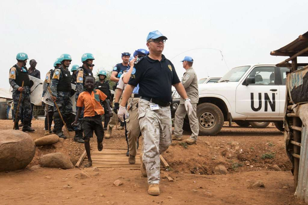 File picture.UN Police conducts search operation in Juba Protection of Civilians site, South Sudan. Photo: UNMISS