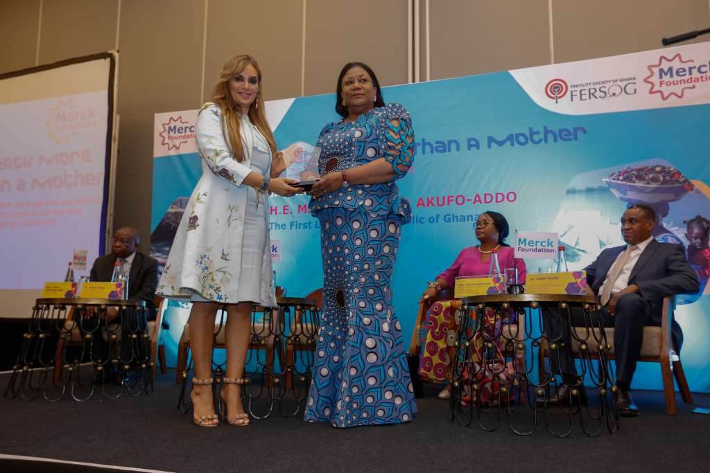 Dr. Rasha Kelej, CEO of Merck Foundation and President, Merck More Than a Mother with H.E. Rebecca Akufo-Addo, First Lady of the Republic of Ghana and Ambassador, Merck More Than a Mother