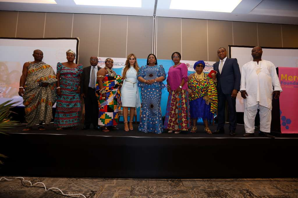Nii Abonsieku I, Pokuase Asere Mantse; Naa Lamiley II, Pokuase Queen Mother; Hon. Kwaku Agyemang Manu, Minister of Health Republic of Ghana; Naa Aduorkor Aryeh I, Developmental Queen Pokuase; Dr. Rasha Kelej, CEO of Merck Foundation and President, Merck More Than a Mother; H.E. Rebecca Akufo-Addo, First Lady of the Republic of Ghana and Ambassador, Merck More Than a Mother; Hon. Cynthia Morrison, Minister of Gender, Children and Social Protection Republic of Ghana; Manye Korbey Anahoma, Kaneshie Queen Mother; Dr. Edem Hiadzi, President of the Fertility Society of Ghana; Asafoatse Quainoo Feni, Pokuase Asere