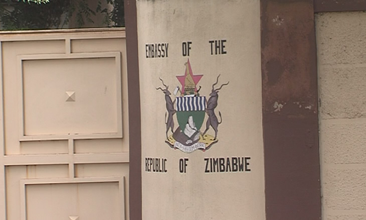 Workers of the Zimbabwean Embassy in Mozambique in strike