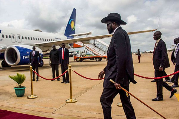 South Sudan's President Salva Kiir at the Juba International Airport en route to Ethiopia on June 20, 2018. The president visited Egypt on January 16, 2019. PHOTO | AFP