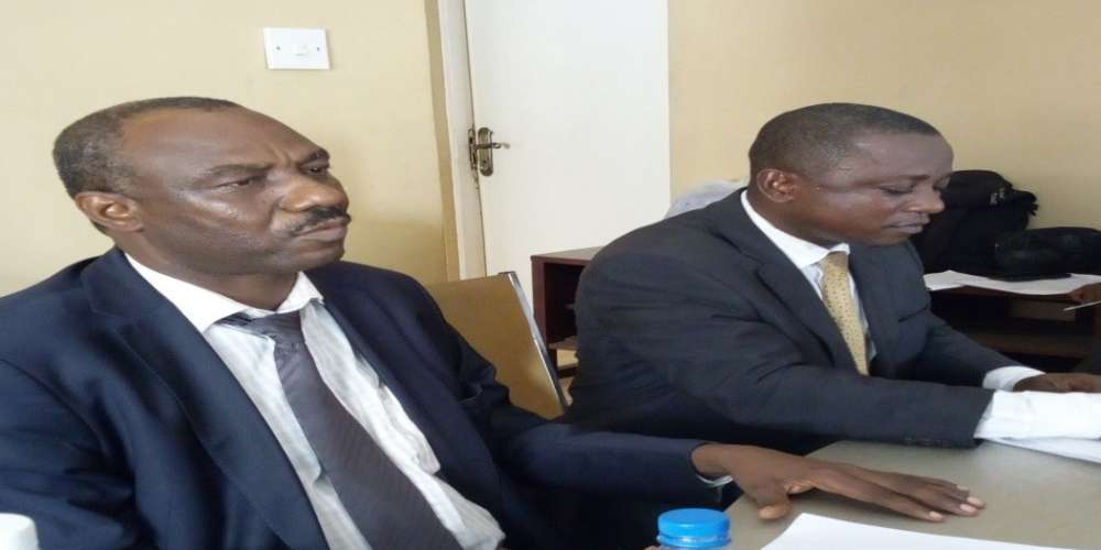 APA Chairperson, Dr. Jonathan Tengbeh flanked by his PRO during the press briefing at Pademba Road