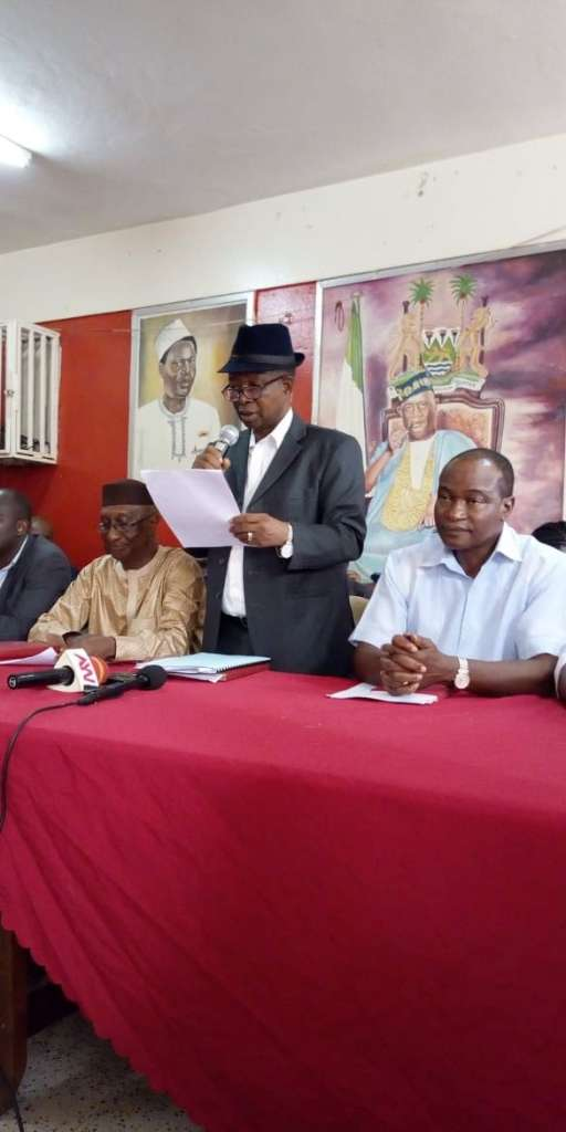 APC scribe, Ambassador Osman Foday Yansaneh flanked senior Party member's yesterday press briefing, at their party's headquarters