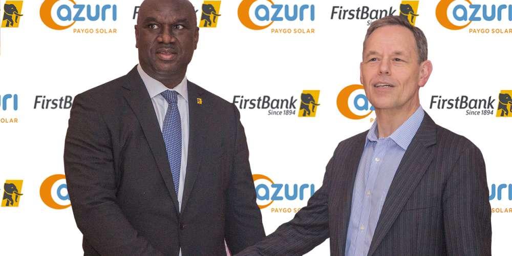 Chuma Ezirim, Group Executive, E- Business & Retail Products, FirstBank of Nigeria Ltd with Azuri CEO Simon Bransfield-Garth (right)