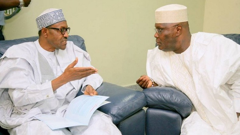 Incumbent President Buhari and PDP opposition Challenger Atiku Abubarkar. One of them will emerge as the next President of Nigeria